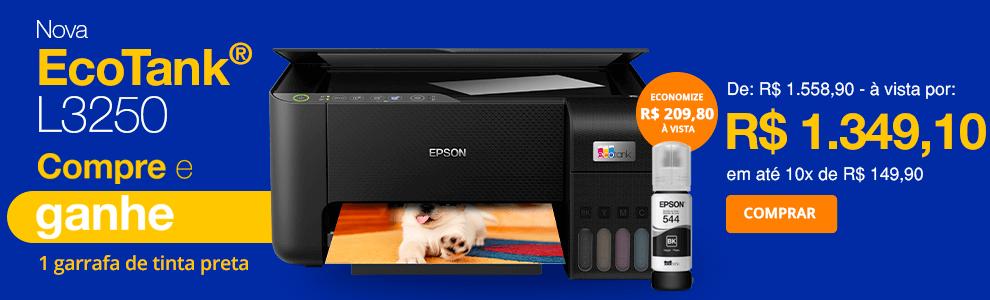 Impressora Multifuncional Tanque de Tinta Ecotank L3250, Colorida, Wi-Fi, Conexão USB, Bivolt, Epson + Garrafa para Ecotank preto T544 - T544120