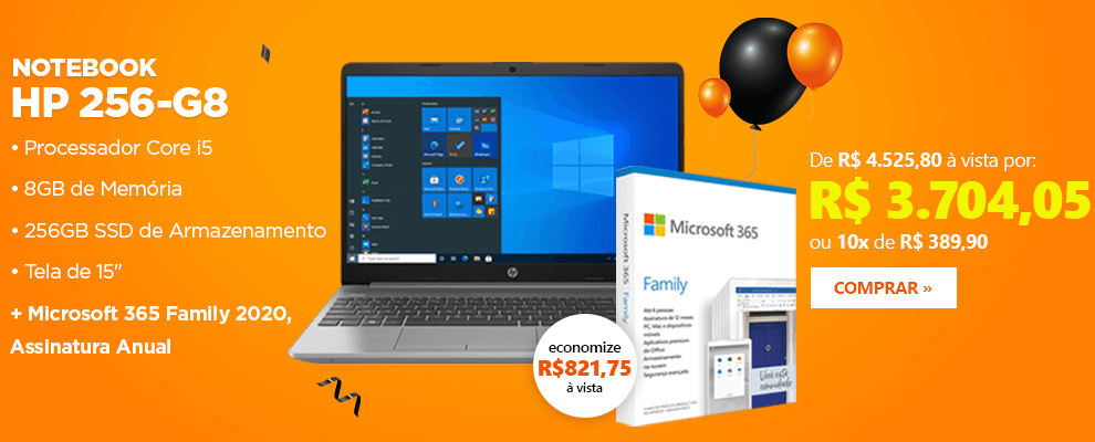 Notebook HP 250-G8 + Microsoft 365 Family 2020, Assinatura Anual