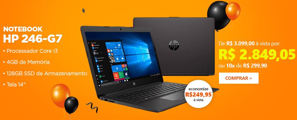"""Notebook HP 250-G7, Processador Core i3, 4GB de Memória, 128GB SSD de Armazenamento, Tela 14"""""""