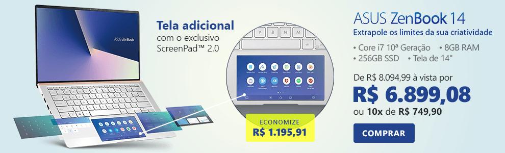 """Notebook Asus Zenbook 14, Processador Core i7 10ª Geração de 1.8ghz, Memória de 8gb, 256GB SSD de Armazenamento, Tela de 14"""", Prata Metálico, UX434FAC-A6339T - Asus com 14% de desconto"""