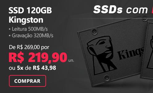 SSD 120GB 500mbs, Leitura 500MB/s, Gravação 320MB/s - Kingston