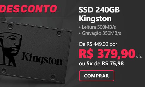 SSD 240GB 500mbs, Leitura 500MB/s, Gravação 350MB/s - Kingston