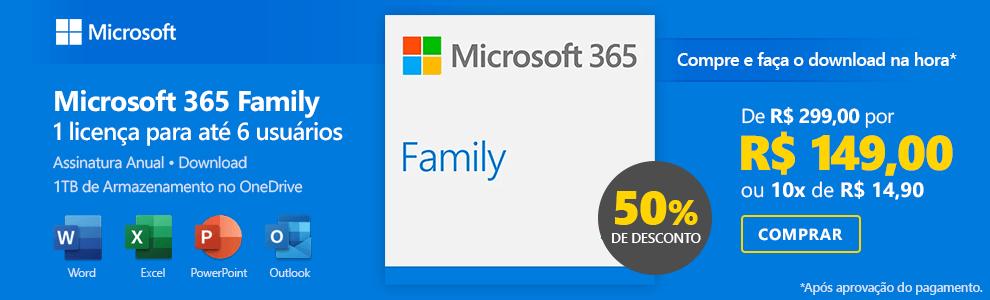 Microsoft 365 Family: 1 licença para até 6 usuários (PC, Mac, Android e IOS) + 1 TB de HD Virtual para cada Usuário Assinatura Anual com 50% de desconto!