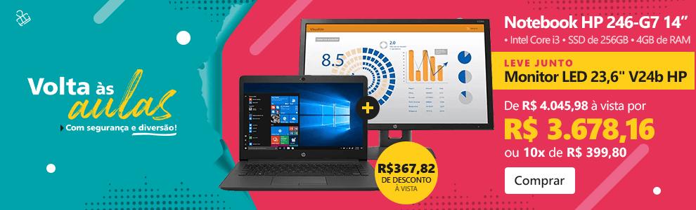 "Notebook 246-G7 i3 1.2ghz 4gb 256gb SSD 14"" W10 200P7LA HP + Monitor LED 23,6"" widescreen V24b 2XM34AA HP"
