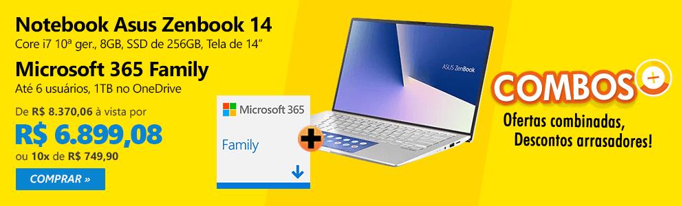 """Notebook Asus Zenbook 14, Intel Core i7 10a Geração, 8GB, 256GB SSD, 14"""", UX434FAC-A6339T + Microsoft 365 Family: 1 licença até 6 usuários (Word, Excel, PowerPoint, Outlook e 1TB OneDrive"""