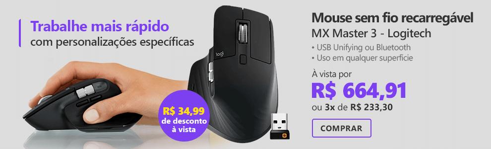 Mouse sem fio Logitech MX Master 3 para Uso em Qualquer Superfície, USB Unifying ou Bluetooth para até 3 dispositivos, Recarregável com 4% de desconto à vista