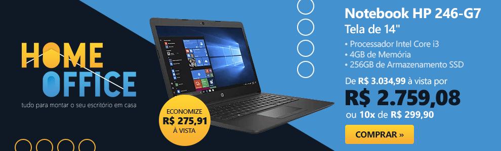 "Notebook HP 246-G7, Processador Core i3, 4GB de Memória, 256GB SSD de Armazenamento, Tela de 14"" - 200P7LA"