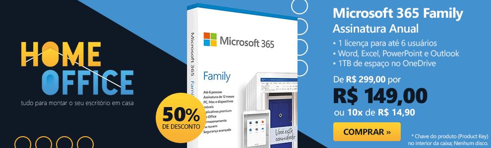 Microsoft 365 Family: 1 licença para até 6 usuários - Word, Excel, PowerPoint, Outlook + 1TB de HD Virtual para cada Usuário - Assinatura Anual