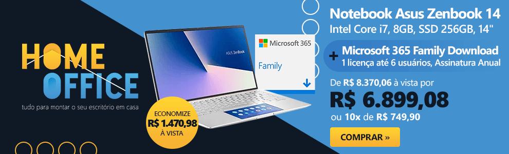 """Notebook Asus Zenbook 14, Intel Core i7 10a Geração, 8GB, 256GB SSD, 14"""", UX434FAC-A6339T + Microsoft 365 Family: 1 licença até 6 usuários (Word, Excel, PowerPoint, Outlook e 1TB OneDrive)"""