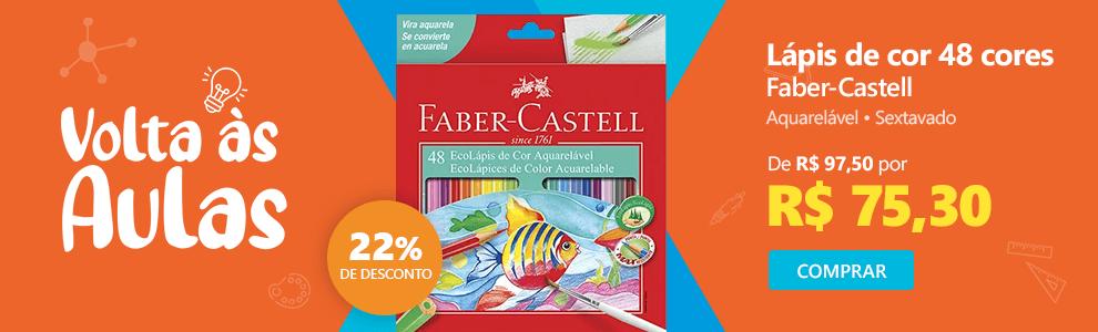 Lápis de cor 48 cores Aquarelável sextavado 120248 Faber Castell com 22% de desconto