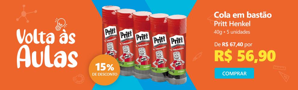 Cola em bastão 40g Pritt 1905654 Henkel 5 unidades com 15% de desconto