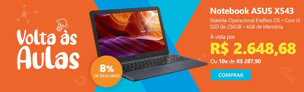 Notebook ASUS X543, Processador Core i3, SSD de 256GB com 8% de desconto