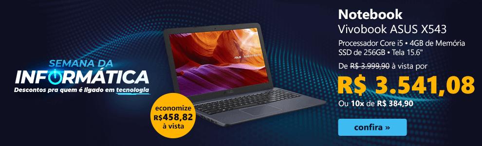 "Notebook Vivobook ASUS X543, Processador Core i5, 4GB de Memória, SSD de 256GB, Tela 15.6"""