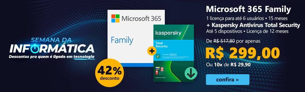 Microsoft 365 Family, 1 licença para até 6 usuários, 15 meses + Kaspersky Antivírus Total Security, Até 5 dispositivos, Licença de 12 meses