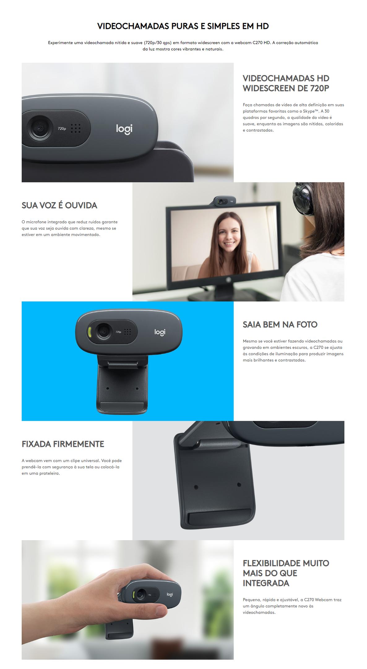 Webcam Logitech C270, HD 720p com Microfone Embutido e 3 MP para Chamadas e Gravações em Vídeo Widescreen