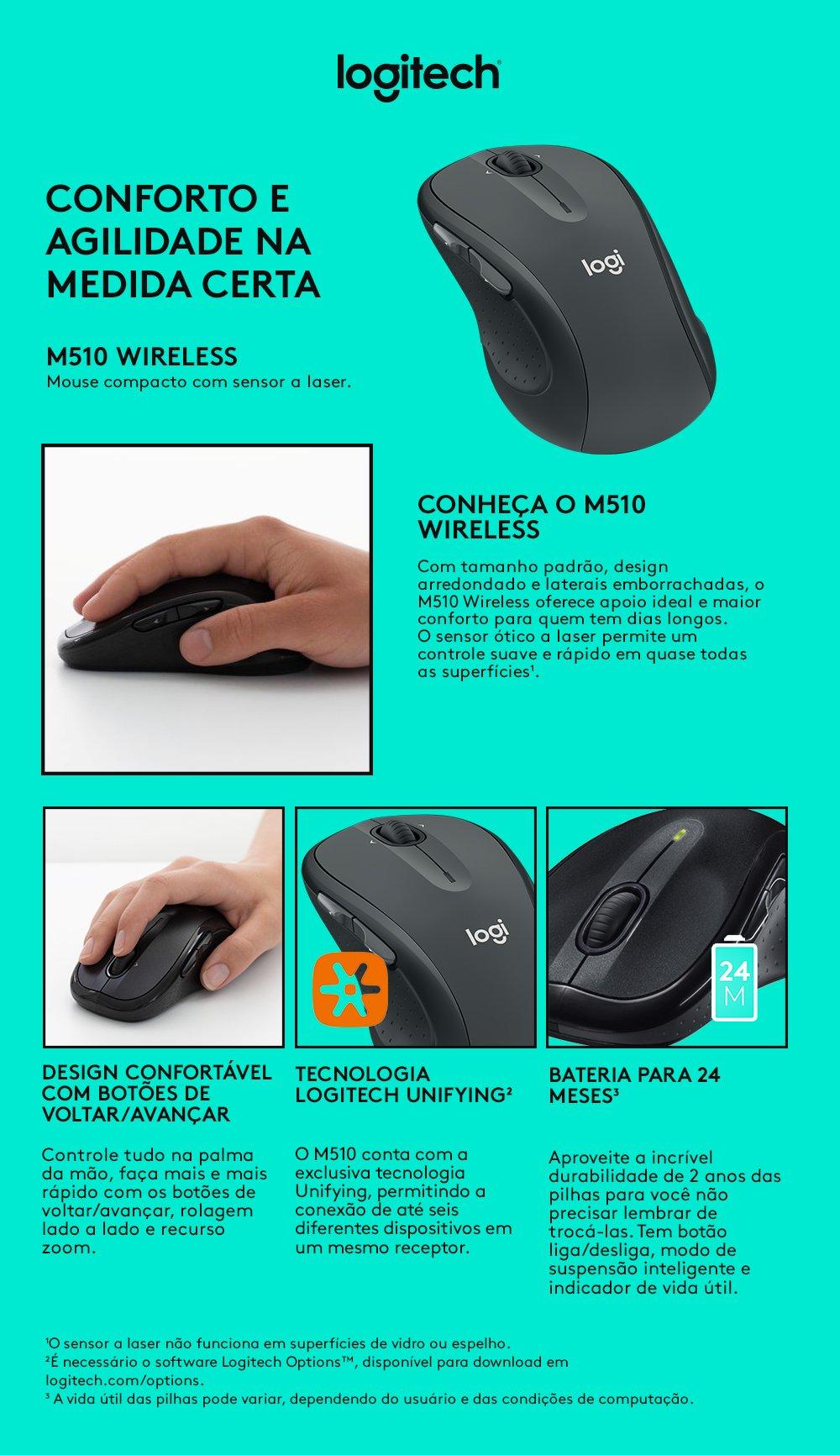 Mouse sem fio Logitech M510 com Conexão USB Unifying e Pilha Inclusa