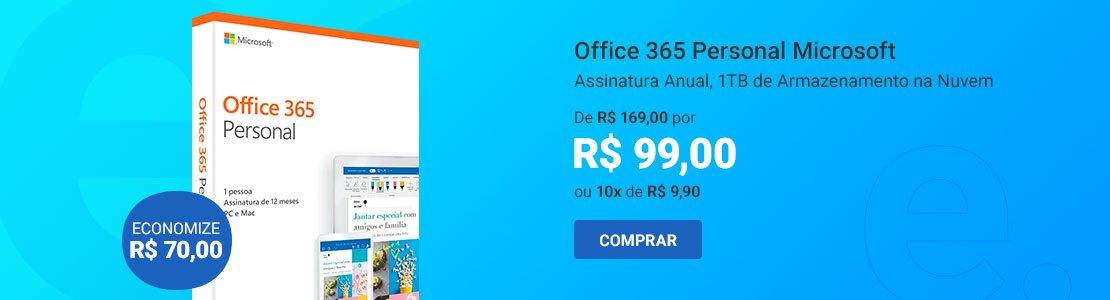 Office 365 Personal Assinatura Anual (Word, Excel, PowerPoint, Outlook e 1TB de Armazenamento na Nuvem do OneDrive) AOMI0056 - Microsoft