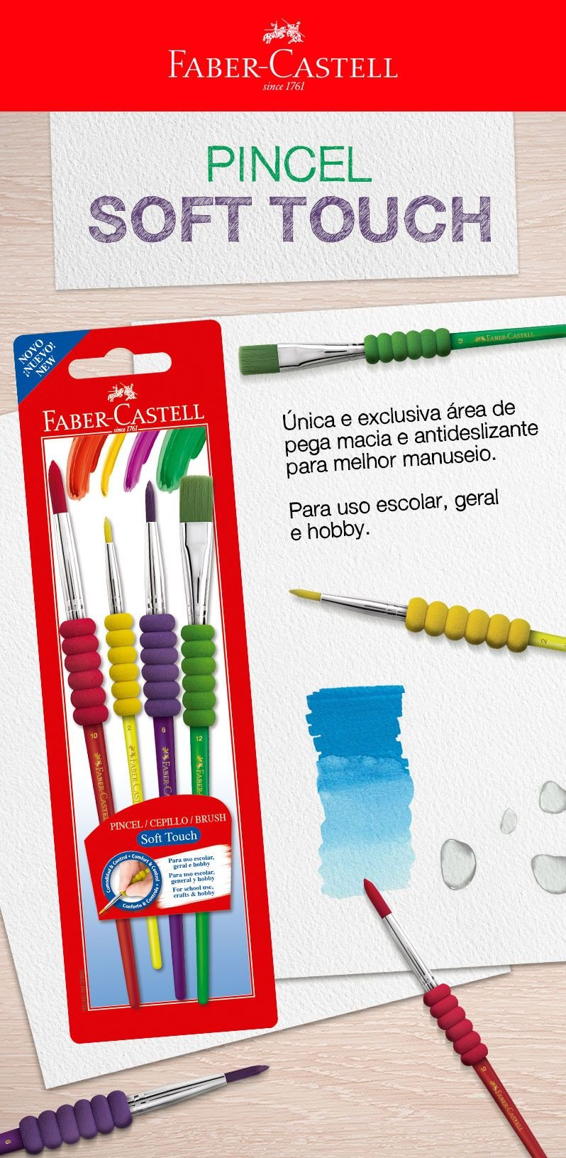 Kit p/pintura soft touch 181600 Faber Castell